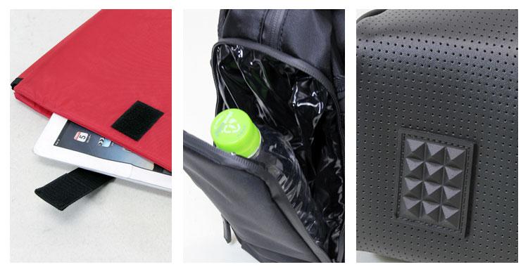 取り外しできるノートPCケースやペットボトル専用ポケットなど機能面も充実