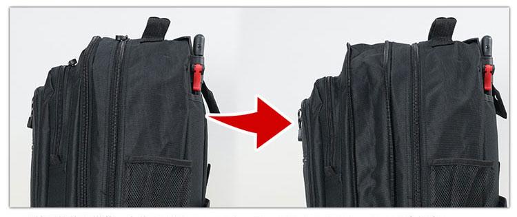 ソフトタイプのスーツケースならマチ拡張も可能